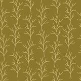 Branches tirées par la main beiges et vertes sur le modèle sans couture de fond de rose illustration stock
