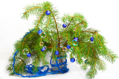 branches treen för julgarneringgran t Royaltyfri Foto