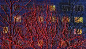 Branches of trees with lights in the windows. Oil painting. Branches of trees with lights in the windows of the house in the background. Bulk texture of oil stock illustration