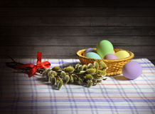 The branches of willow and Easter eggs. Royalty Free Stock Images