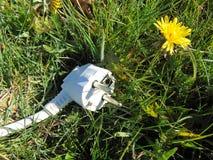Branchez la pose dans l'herbe, concept écologique d'énergie images libres de droits