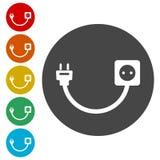 Branchez la prise et la corde, le fil, la prise et la prise électrique illustration stock