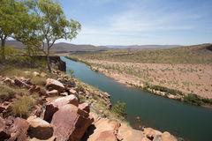 Brancho`s Lookout, El Questro Station, Kimberley, Western Austra. The Penetecost River on El Questro Station in the Kimberley Region of Western Australia is stock photos