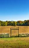 Branchwood-Tor in der niedrigen Steinwand lizenzfreies stockfoto