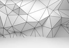 Branco abstrato 3d interior, parede poligonal do wireframe ilustração stock