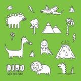 Branco ajustado do vetor dos desenhos animados de Dino Fotografia de Stock