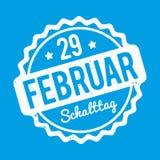Branco alemão de Schalttag 29 Februar Stempel em um fundo azul Ilustração do Vetor
