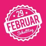 Branco alemão de Schalttag 29 Februar Stempel em um fundo cor-de-rosa Ilustração do Vetor