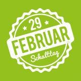 Branco alemão de Schalttag 29 Februar Stempel em um fundo verde Ilustração do Vetor