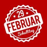 Branco alemão de Schalttag 29 Februar Stempel em um fundo vermelho Ilustração do Vetor