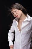 Branco asiático da mulher no preto Imagem de Stock Royalty Free