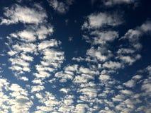 Branco bonito nebuloso no céu azul após chover foto de stock