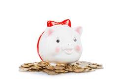 Branco a caixa da porco-moeda Fotos de Stock Royalty Free