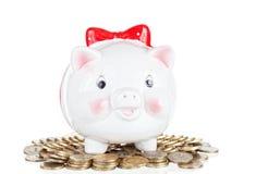 Branco a caixa da porco-moeda Imagem de Stock Royalty Free