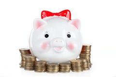 Branco a caixa da porco-moeda Fotografia de Stock