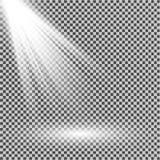 Branco claro do projetor Molde para o efeito da luz em um fundo transparente Ilustração do vetor Imagens de Stock