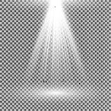 Branco claro do projetor Molde para o efeito da luz em um fundo transparente Ilustração do vetor Fotos de Stock Royalty Free