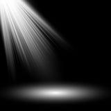 Branco claro do projetor Molde para o efeito da luz no fundo preto Ilustração do vetor Fotos de Stock Royalty Free