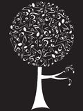 Branco da árvore do PNF das notas musicais Fotos de Stock