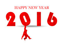 Branco 2016 da neve da ilustração no fundo branco brilhante claro sombras Conceito do negócio do projeto do ano novo feliz Identi Foto de Stock