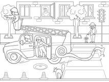 Branco da neve nas madeiras com animais Conto do berçário, desenhos animados, linhas pretas do livro para colorir em um fundo vaz ilustração do vetor
