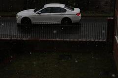 Branco de Audi na neve foto de stock royalty free