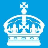 Branco do ícone da coroa ilustração stock