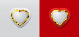 Branco do coração 3d e cor do ouro Imagem de Stock Royalty Free