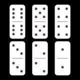 Branco do dominó seis partes em um fundo preto ilustração stock