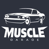 Branco do logotipo da garagem do carro do músculo Fotos de Stock Royalty Free