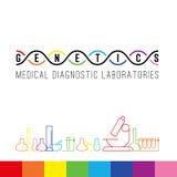 Branco do logotipo da genética ilustração stock