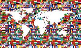 Branco do mapa da bandeira do mundo Fotografia de Stock Royalty Free