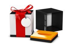 Branco e caixa negra de perfume no fundo branco Conceito da promoção nova do perfume ilustração 3D Zombaria acima Fotografia de Stock Royalty Free