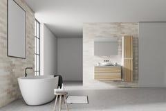 Branco e cartaz do interior do banheiro do tijolo Foto de Stock