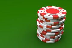 Branco e Chip Stack de jogo vermelho ilustração do vetor