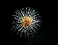 Branco e fogos-de-artifício angulares do ouro Fotografia de Stock