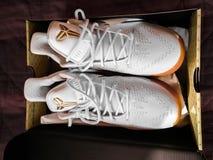 Branco e mamba preta das sapatilhas do nike de Kobe Bryant do ouro em uma caixa imagens de stock royalty free
