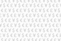 Branco e teste padrão Backgrou das moedas de Grey Dollar Euro Yen Pound Fotos de Stock Royalty Free