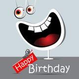 Branco engraçado do sorriso do cartão do feliz aniversario Fotografia de Stock Royalty Free