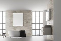 Branco interior do cartaz do banheiro moderno Fotografia de Stock Royalty Free