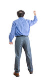 Branco irritado de Facing Backward Against do homem de negócios foto de stock