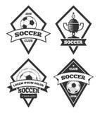 Branco isolado coleção dos moldes do logotipo do futebol Fotografia de Stock Royalty Free