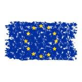 Branco isolado grunge da textura da bandeira da União Europeia Foto de Stock
