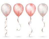 Branco lustroso de voo e balões realísticos brilhantes cor-de-rosa do hélio 3D com sparkles da fita e do brilho do ouro, decoraçã ilustração royalty free