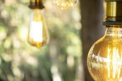 Branco morno conduzido incandescente retro clássico da lâmpada elétrica no fundo do borrão, ampola do vintage fotos de stock royalty free