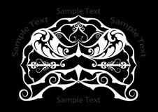 Branco no encabeçamento preto com espirais Fotos de Stock Royalty Free