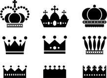 Branco real do preto dos ícones da coroa Imagens de Stock