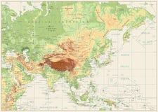 Branco retro do mapa físico de Ásia Fotografia de Stock Royalty Free