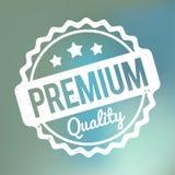 Branco superior do carimbo de borracha da qualidade em um fundo azul da névoa do bokeh Imagens de Stock Royalty Free