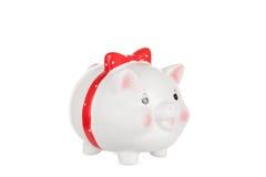 Branco uma caixa da porco-moeda Imagens de Stock Royalty Free